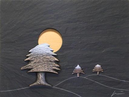 Schnee der auf Zedern fällt von BöRNER Klaus