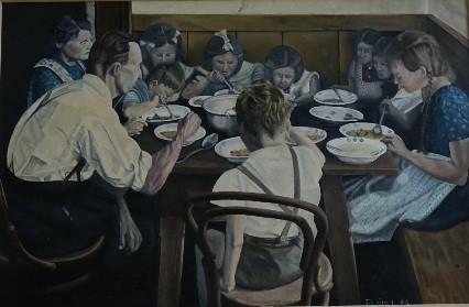 Großfamilie am Mittagstisch von Ludwig Fleidl