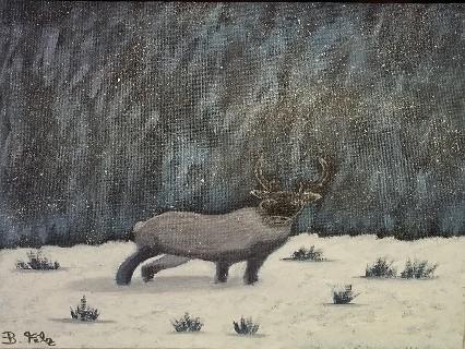 Rentlier im Winterwald von Birgitt Filz